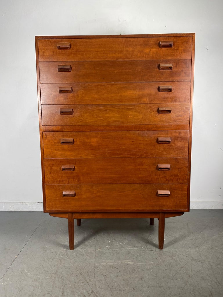 Scandinavian Modern High Teak 7- Drawer Dresser by Borge Mogensen  Denmark, 1950s For Sale