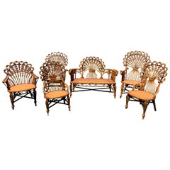 High Victorian 6-Piece Wicker Parlour Set, Attributed to Heywood- Wakefield