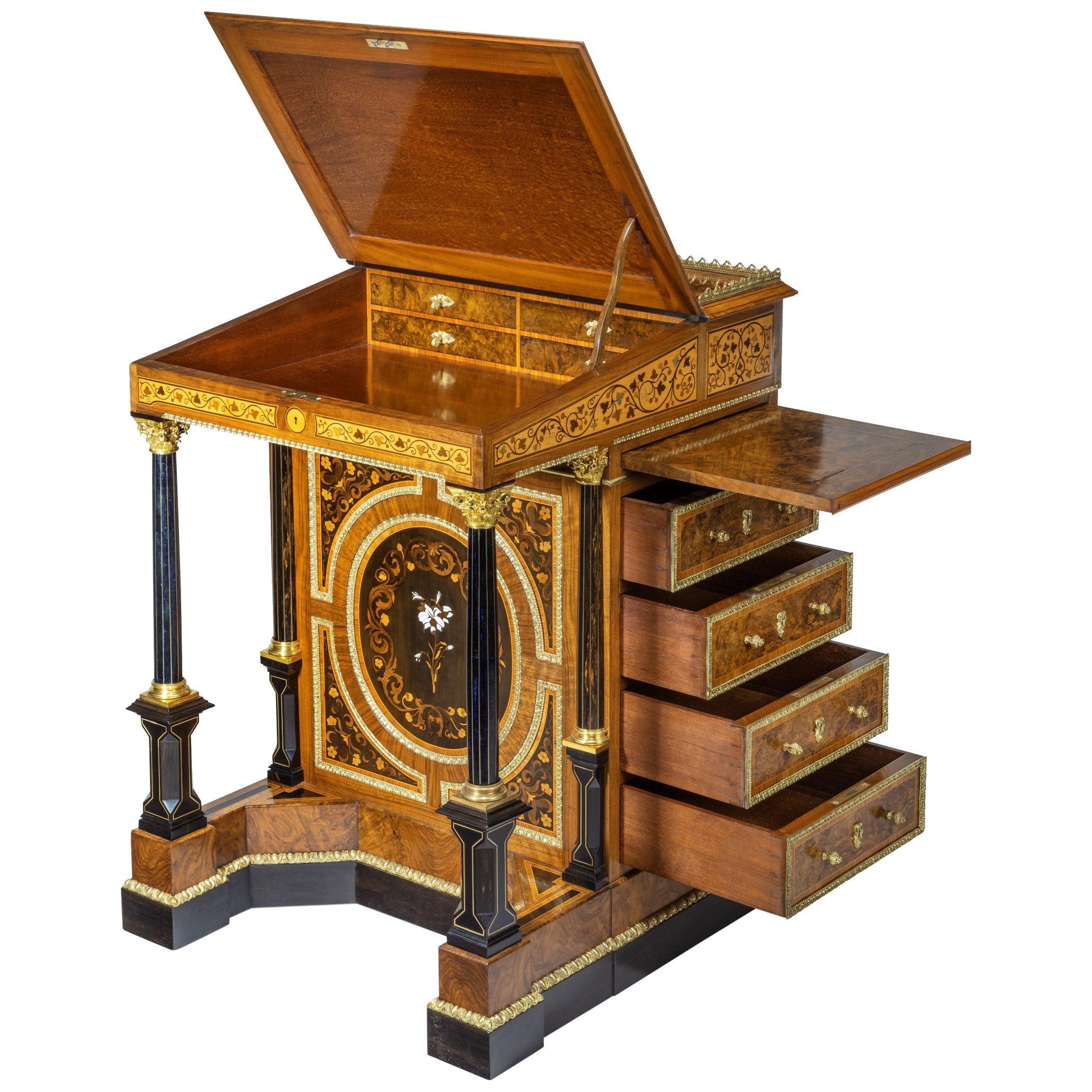 High Victorian Freestanding Burr-Walnut Davenport Desk England, 1870