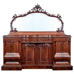 High Victorian Shaped Flame Mahogany Mirror Topped Sideboard
