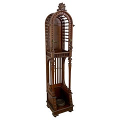 High Victorian Stick and Ball Variation Hall Rack, Attributed to Hunzinger