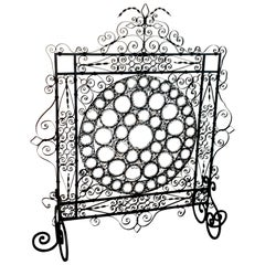 High Victorian Wrought Iron Wire Work Medallion Fires Screen