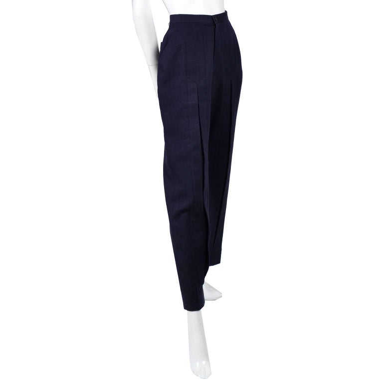 Women's 1980s Issey Miyake Pants w Inverted Pleats in Navy Blue Micro Dot Cotton & Rayon For Sale