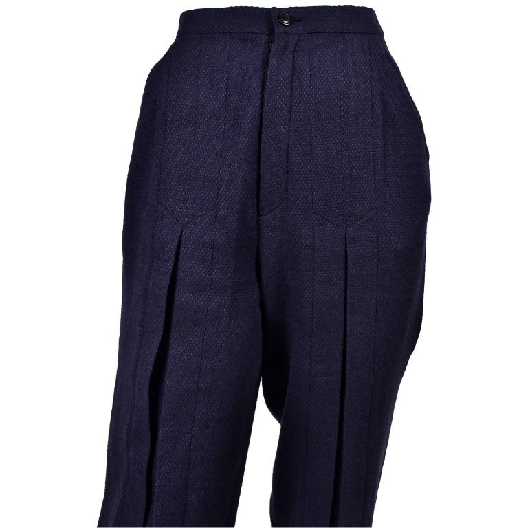 1980s Issey Miyake Pants w Inverted Pleats in Navy Blue Micro Dot Cotton & Rayon For Sale 1
