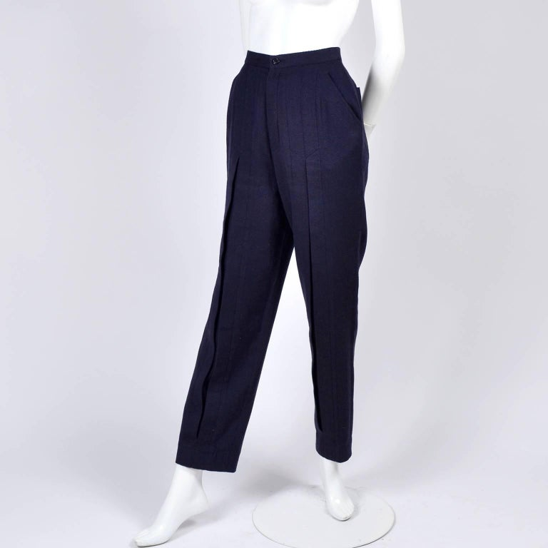 1980s Issey Miyake Pants w Inverted Pleats in Navy Blue Micro Dot Cotton & Rayon For Sale 2
