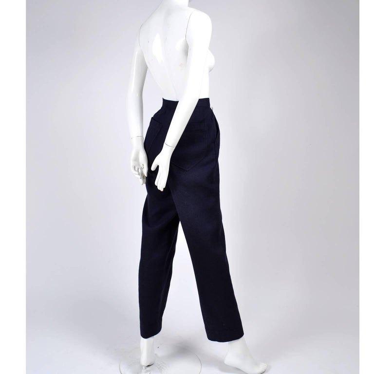 1980s Issey Miyake Pants w Inverted Pleats in Navy Blue Micro Dot Cotton & Rayon For Sale 3