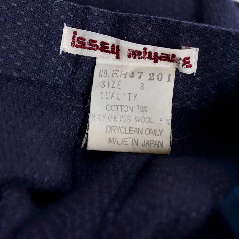 1980s Issey Miyake Pants w Inverted Pleats in Navy Blue Micro Dot Cotton & Rayon For Sale 4