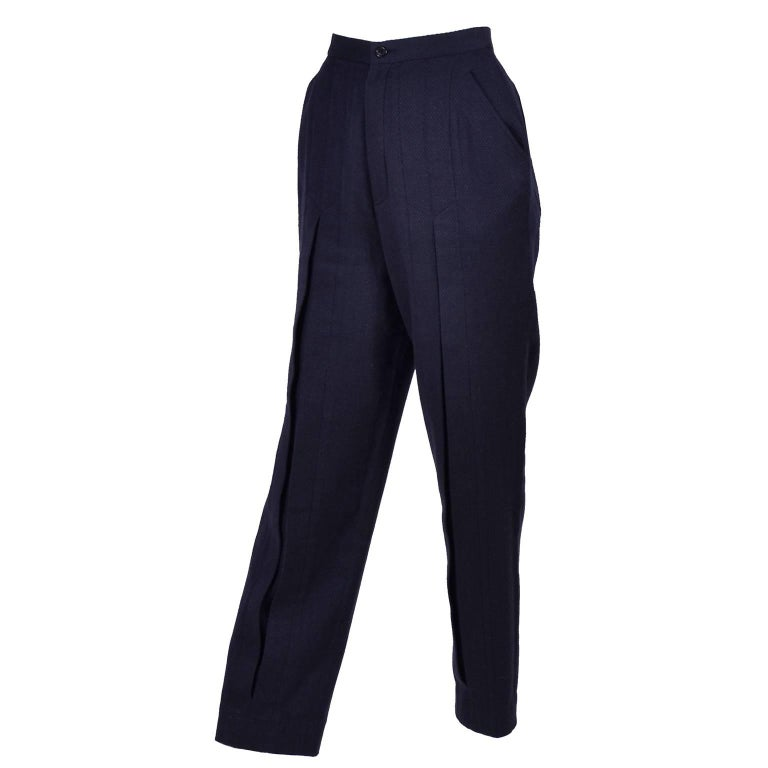 1980s Issey Miyake Pants w Inverted Pleats in Navy Blue Micro Dot Cotton & Rayon For Sale