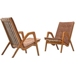 Highback Armchairs in Oak with Reupholstered Cognac Leather Cushion