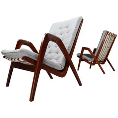 Highback Armchairs in Oak with Reupholstered Cushions by Jan Vanek Praque, 1940s