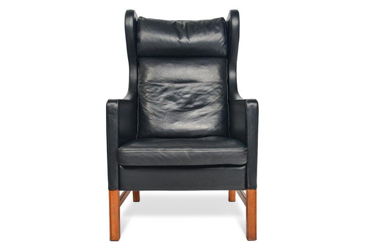 20th Century Highback Black Leather Lounge Chair by Skipper Møbler For Sale