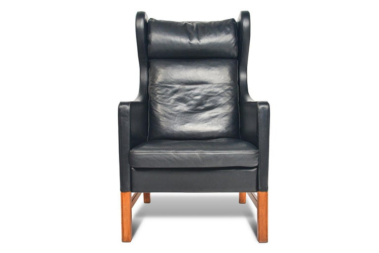 Cherry Highback Black Leather Lounge Chair by Skipper Møbler For Sale