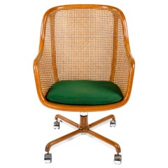 Highback Caned Swivel Desk Chair by Ward Bennett