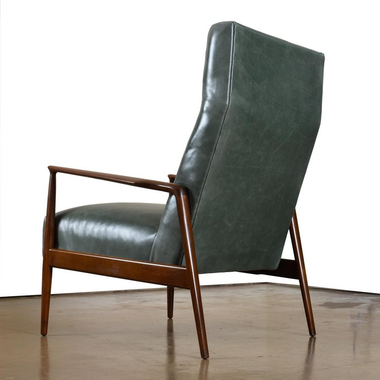 Mid-Century Modern Highback Green Leather Ib Kofod-Larsen Sculpted Blade Arm Lounge Chair for Selig For Sale