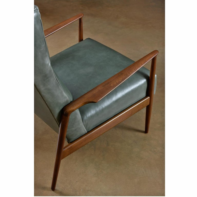 Danish Highback Green Leather Ib Kofod-Larsen Sculpted Blade Arm Lounge Chair for Selig For Sale