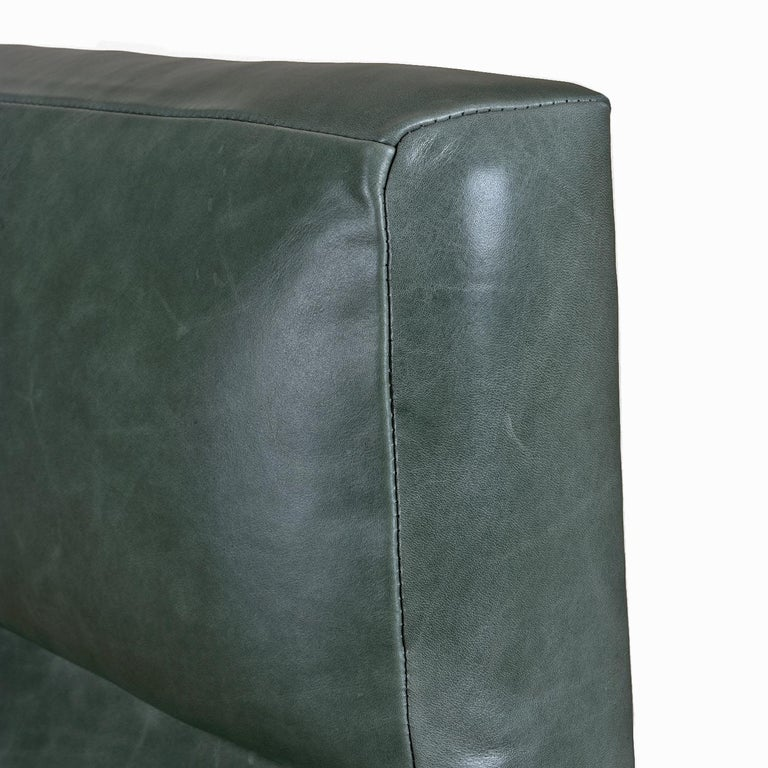 Highback Green Leather Ib Kofod-Larsen Sculpted Blade Arm Lounge Chair for Selig For Sale 1