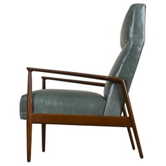 Highback Green Leather Ib Kofod-Larsen Sculpted Blade Arm Lounge Chair for Selig