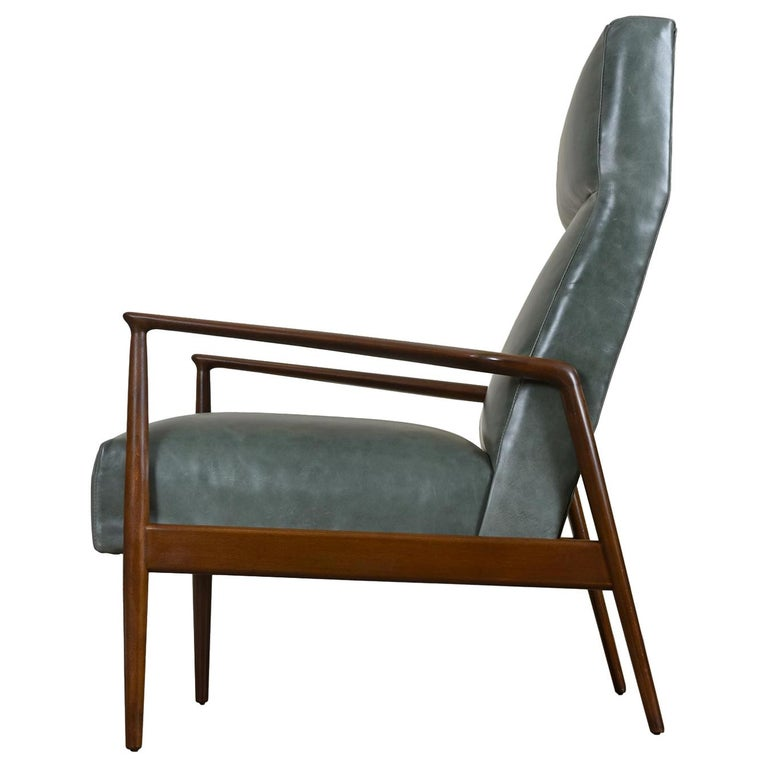 Highback Green Leather Ib Kofod-Larsen Sculpted Blade Arm Lounge Chair for Selig For Sale