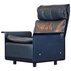 Highback Leather Lounge Chair Mod. 620 by Dieter Rams for Vitsoe Black Leather