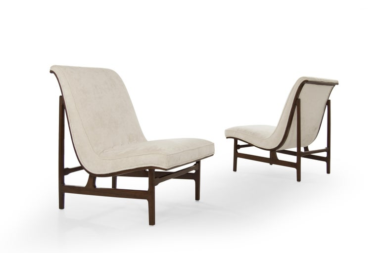Highback Walnut and Chenille Slipper Chairs, Art Deco Style For Sale 1
