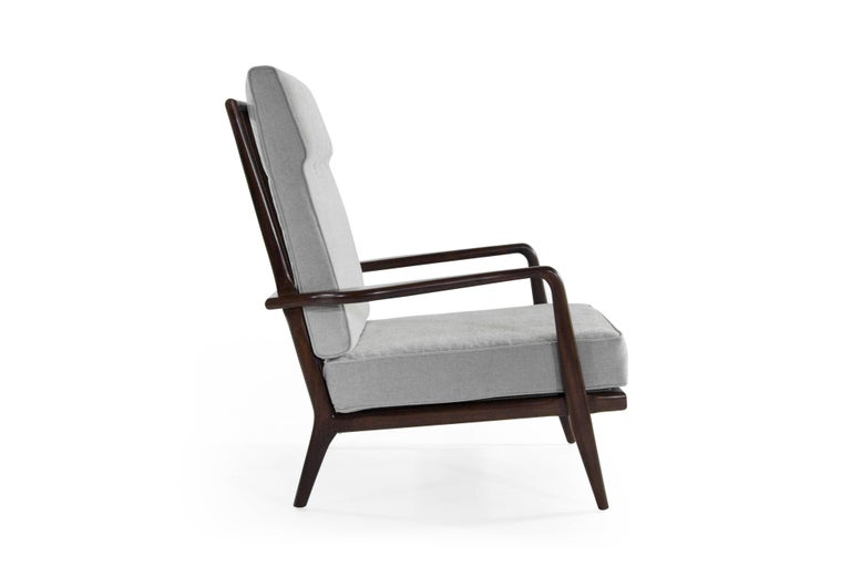 Mid-Century Modern High Back Walnut Armchair by Mel Smillow, 1950s For Sale