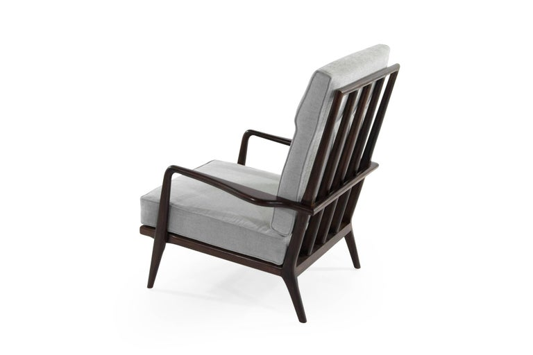 American High Back Walnut Armchair by Mel Smillow, 1950s For Sale