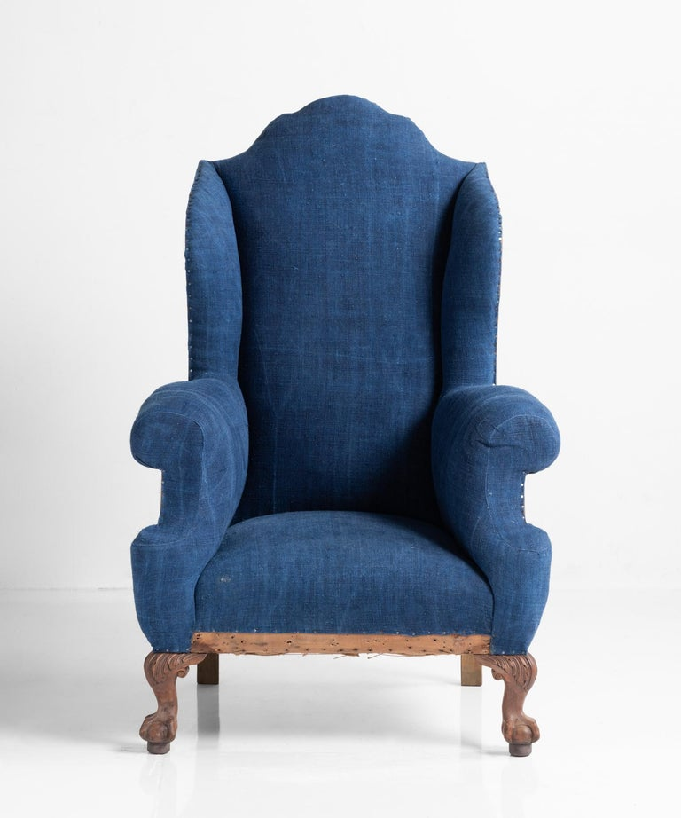 Highback Winged Armchair, England, circa 1910 In Good Condition For Sale In Culver City, CA