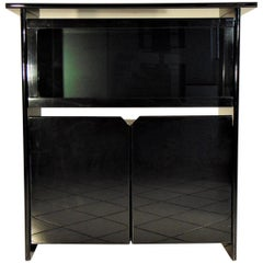 Highboard with Vitrine, Glossy Black Lacquer by Sormani, Italy, 1985