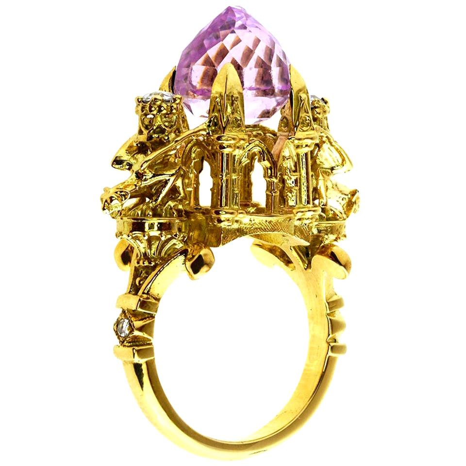 Higher Divinity Cathedral Ring in 18 Karat Yellow Gold with Kunzite and Diamonds