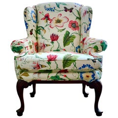 Highland House Floral Contemporary Wingback Armchair, White, Custom Lounge Chair