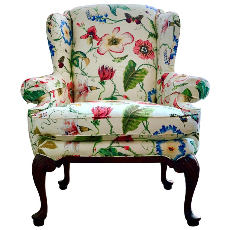 Highland House Floral Contemporary Wingback Armchair ...