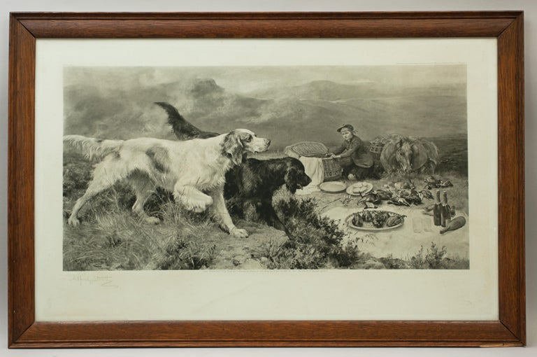 Highland Scene, Gamekeeper with Setters by Alfred Strutt, Game Picture For Sale 4