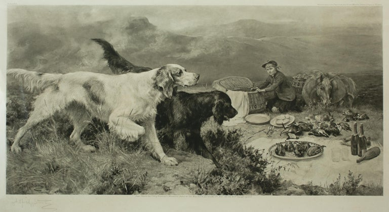 Highland Scene, Gamekeeper with Setters by Alfred Strutt, Game Picture For Sale 5