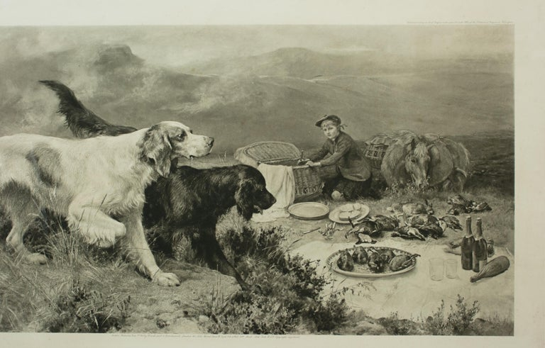 Highland Scene, Gamekeeper with Setters by Alfred Strutt, Game Picture For Sale 6