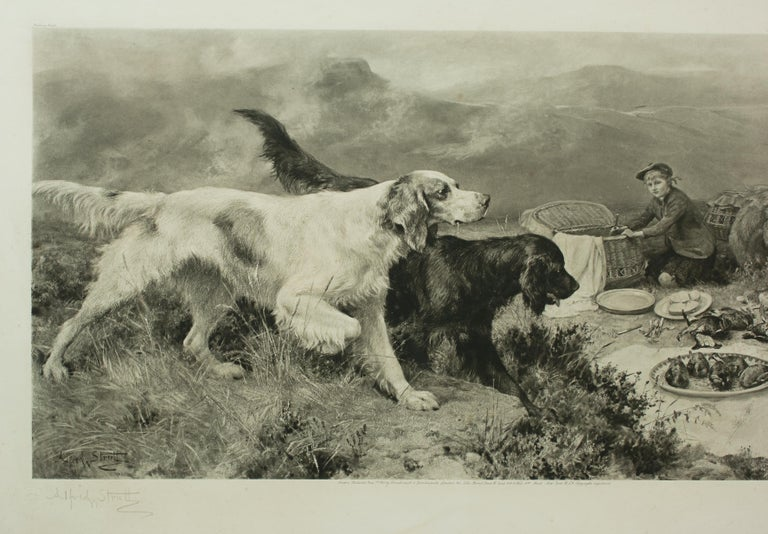 Alfred Strutt game picture, Gamekeeper's Highland Repast. The picture is framed in an old oak frame and shows a young Gamekeeper in the Highlands with his two companions (two setters) and his pony. He can be seen laying out a meal (sandwiches and