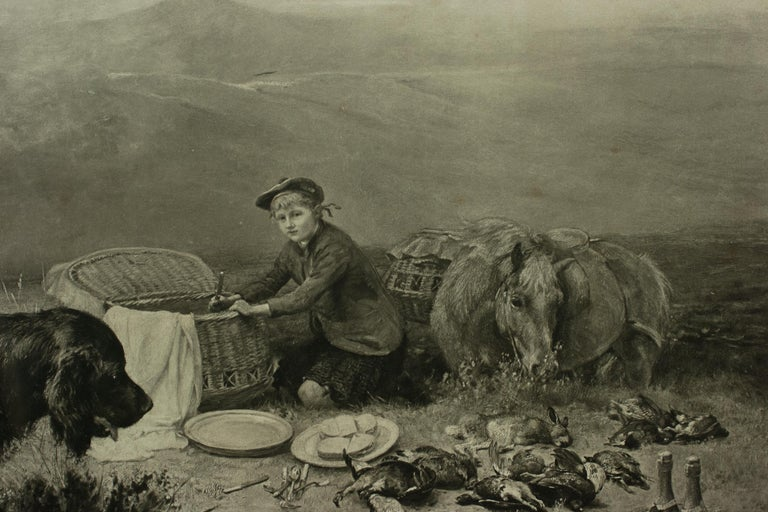 Highland Scene, Gamekeeper with Setters by Alfred Strutt, Game Picture For Sale 2
