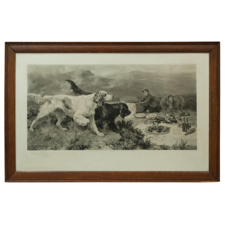 Highland Scene, Gamekeeper with Setters by Alfred Strutt, Game Picture For Sale