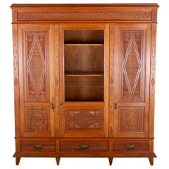 Highly-Carved French Three-Door Bookcase