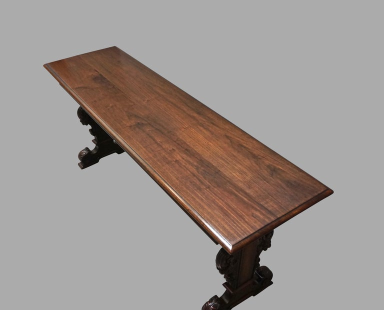 American Highly Carved Late Victorian Walnut Hall Table For Sale
