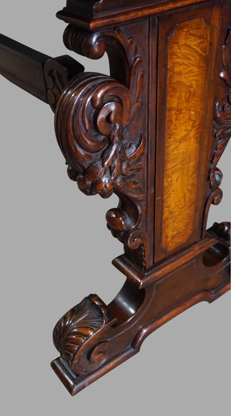 Highly Carved Late Victorian Walnut Hall Table In Good Condition For Sale In San Francisco, CA