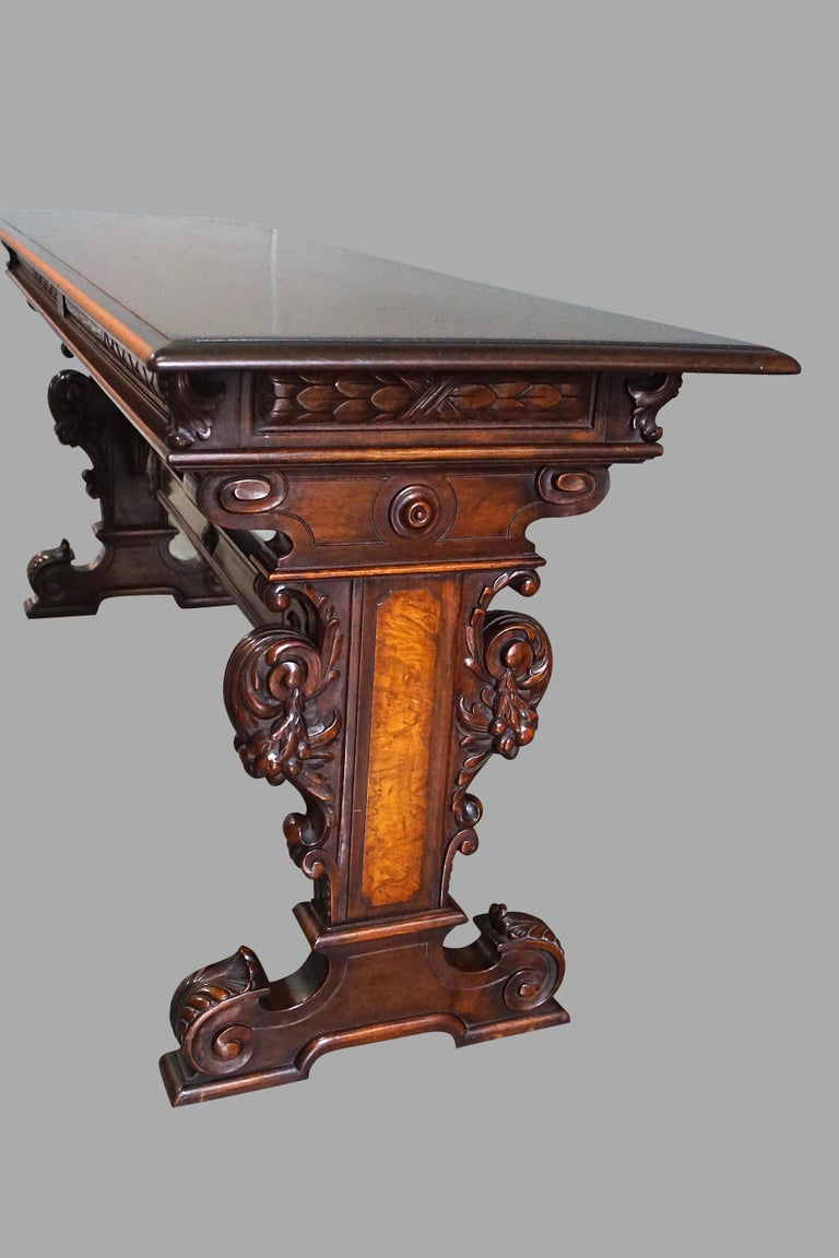 19th Century Highly Carved Late Victorian Walnut Hall Table For Sale
