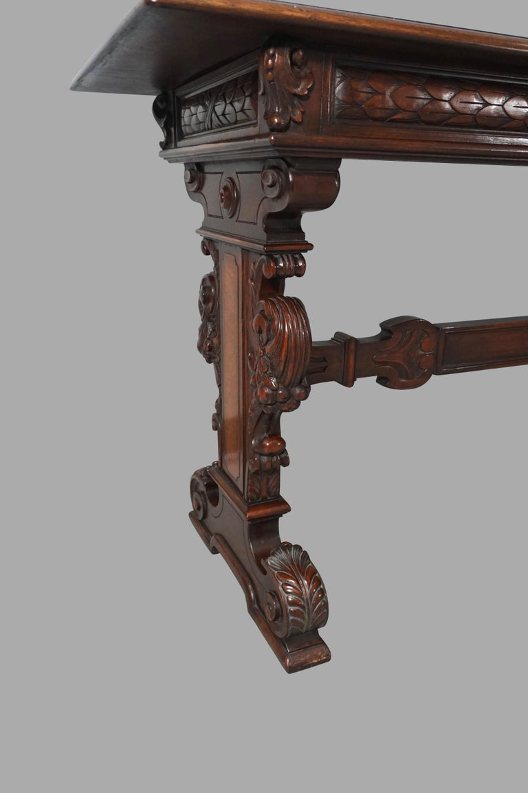 Highly Carved Late Victorian Walnut Hall Table For Sale 1