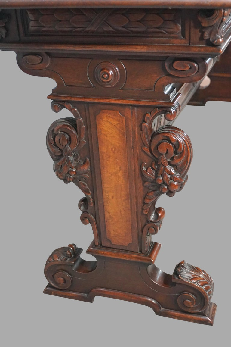 Highly Carved Late Victorian Walnut Hall Table For Sale 2