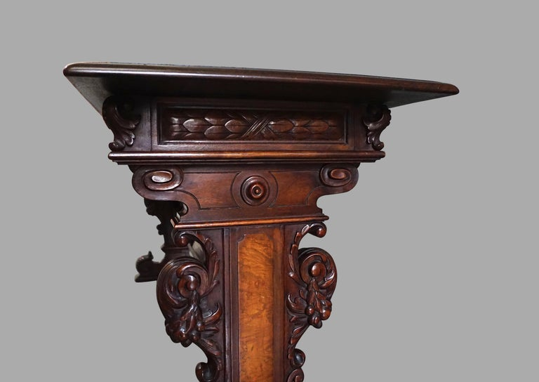 Highly Carved Late Victorian Walnut Hall Table For Sale 4