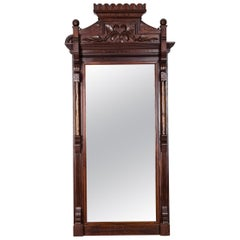 Highly Carved Mahogany Wood Framed Hanging Wall Mirror