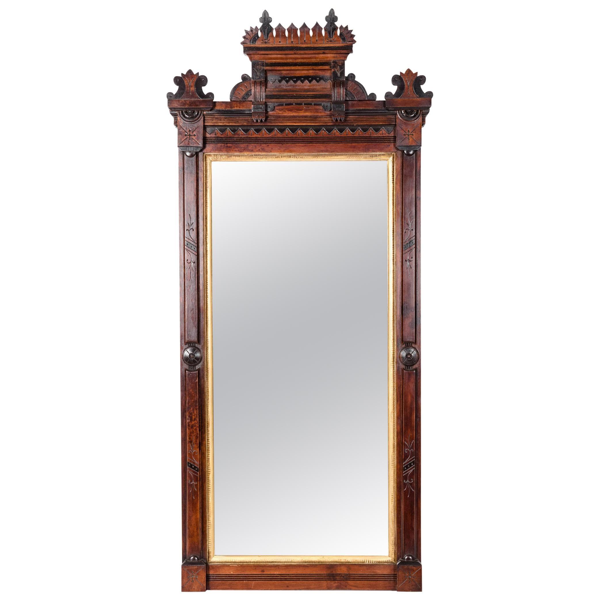 Highly Carved Mahogany Wood / Gold Leaf Framed Hanging Mirror