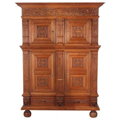 Highly Carved Oak Renaissance Revival Cabinet, circa 1900