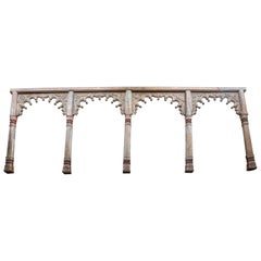 Highly Carved Solid Teak Wood Four Arch Side Panel from a Second Floor Balcony
