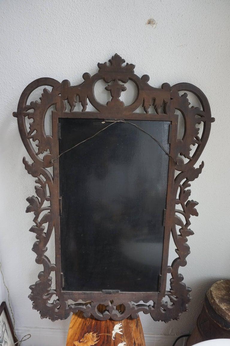 Highly Carved Vintage Wooden Mirror For Sale 3