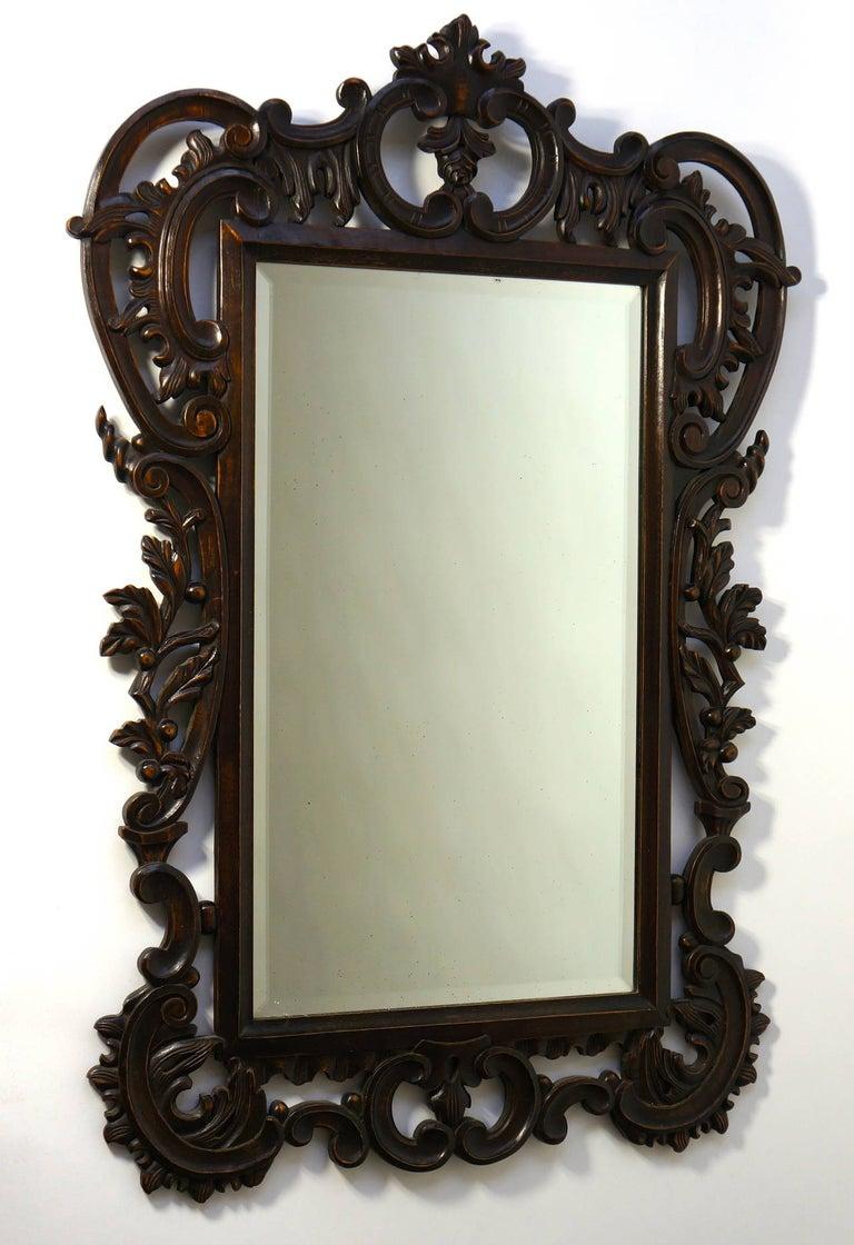 Hollywood Regency Highly Carved Vintage Wooden Mirror For Sale